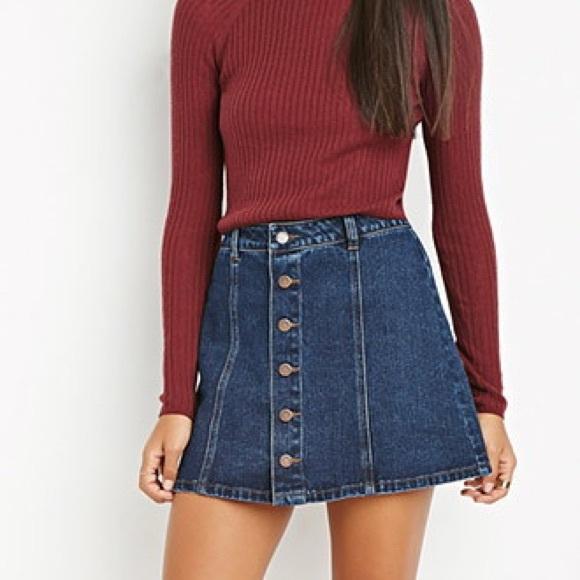 f85bb8e29f Forever 21 Dresses & Skirts - Forever 21 button up denim skirt